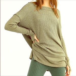 FREE PEOPLE North Shore Thermal Knit Tunic Green S